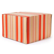 Thick Stripes Ottoman in Orange