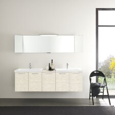 "Light 69"" Double Ceramic Sink Vanity Set"