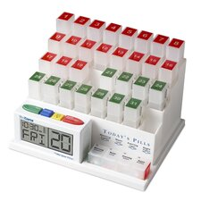 31 Day Interactive Pill Organizer and 4 Alarm Talking Reminder Clock