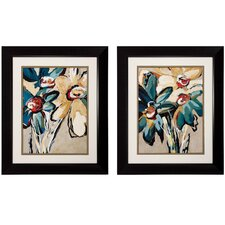 2 Piece Blooming Blue Wall Art Set