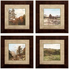 Western 4 Piece Framed Painting Print Set