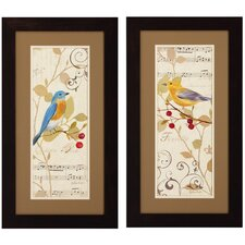 Perch on Note I / II 2 Piece Framed Graphic Art Set (Set of 2)