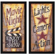 "Lights and Movie Print Set - 14"" x 28"" (Set of 2)"