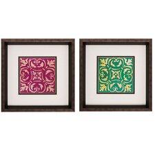 Mosaic Tile I / II 2 Piece Framed Graphic Art Set (Set of 2)
