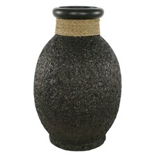 Ubud Rice Husk Round Decorative Jug Vase