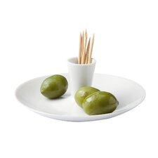 Porcelain & Glass Olive Dish Condiment Server
