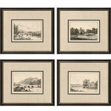 Idyllic Bridges by Wood 4 Piece Framed Painting Print Set