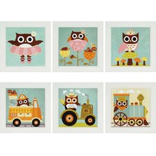 6 Piece Owl Play by Lee Framed Art Set