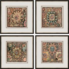 Persian Carpet 4 Piece Framed Graphic Art Shadow Box Set