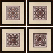 Piazza Tile by Vess 4 Piece Framed Graphic Art Set