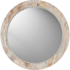 Round Washed Wood Mirror