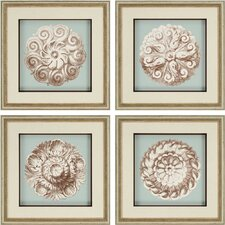 Rosettes Giclee 4 Piece Framed Painting Print Set