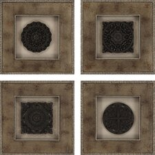 Aged RoSette 4 Piece Graphic Art Shadow Boxes Set