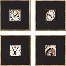 Clocks by Hall 4 Piece Framed Graphic Art Set