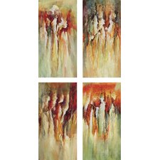 Contemporary Rain 4 Piece Original Painting on Canvas Set
