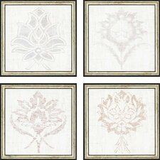Weathered Damask 4 Piece Framed Painting Print Set