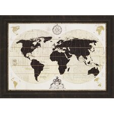 Vintage World Map by Ross Framed Graphic Art