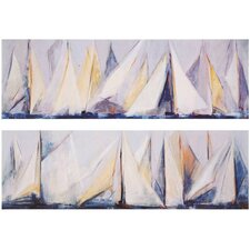 "First Sail by Torres Waterfront Art - 12"" x 36"" (Set of 2)"