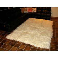 Hera Flokati Extra Natural White Solid Area Rug