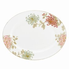 "Painted Camellia 13"" Oval Platter"