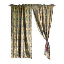 Jacquard Leaves Cotton Rod Pocket Curtain Panel (Set of 2)