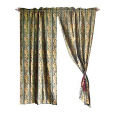 Jacquard Leaves Cotton Rod Pocket Sheer Curtain Panel Pair