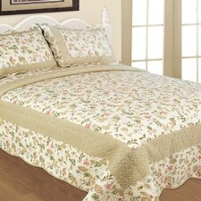 <strong>Textiles Plus Inc.</strong> Blooming Garden 3 Piece Quilt Set