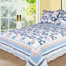 Pansy 3 Piece Full/Queen Quilt Set