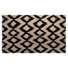 Jute/Cotton Printed Navy Ikat Rug