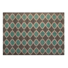 Jute/Cotton Printed Turquoise and Taupe Matrix Geometric Rug
