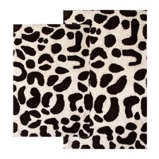 Safari Leopard Contemporary Bath Rug (Set of 2)