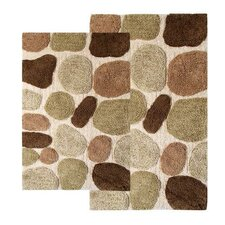 Pebbles 2 Piece Contemporary Bath Rug Set
