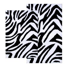 Safari Zebra Contemporary Bath Rug (Set of 2)