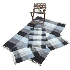 Check Chindi Black 3 Piece Accent Area Rug Set