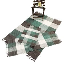 Check Chindi Teal 3 Piece Accent Rug Set