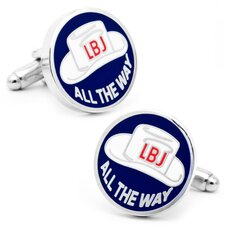 "Vintage ""LBJ All The Way"" Button Cufflinks"
