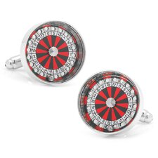 Silver Plated Roulette Wheel Cufflinks