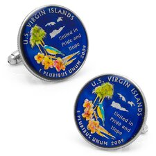 Rhodium Plated US Virgin Islands Coin Cufflinks