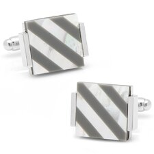 Silver Plated Hematite and Mother of Pearl Floating Striped Cufflinks