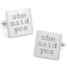 "Wedding Series Silver Plated ""She Said Yes"" Cufflinks"