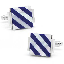 Silver Plated Lapis and Mother of Pearl Floating Striped Cufflinks