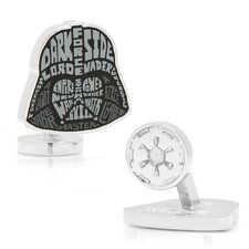 Star Wars Silver Plated Darth Vader Typography Cufflinks