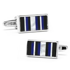 Rhodium Plated Lapis Barcode Cufflinks