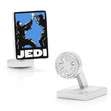 Star Wars Rhodium Plated Jedi Pop Art Cufflinks