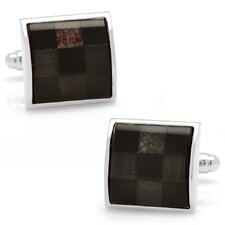 Silver Plated Onyx and Fiber Optic Checker Board Cufflinks