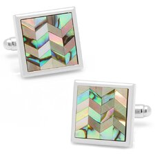 Silver Plated Abalone and Mother of Pearl Chevron Cufflinks