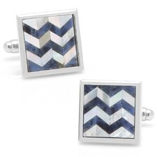 Silver Plated Lapis and Mother of Pearl Chevron Cufflinks