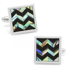 Silver Plated Onyx and Abalone Chevron Cufflinks