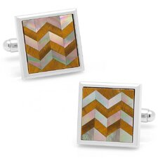 Silver Plated Tiger's Eye and Black Mother of Pearl Chevron Cufflinks