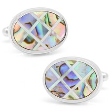 Silver Plated Abalone and Mother of Pearl Diagonal Grid Cufflinks